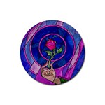 Enchanted Rose Stained Glass Rubber Coaster (Round)