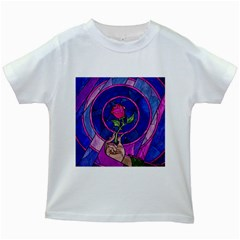 Enchanted Rose Stained Glass Kids White T Shirts by Onesevenart