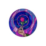 Enchanted Rose Stained Glass Magnet 3  (Round)