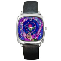 Enchanted Rose Stained Glass Square Metal Watch by Onesevenart