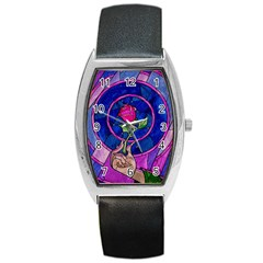 Enchanted Rose Stained Glass Barrel Style Metal Watch by Onesevenart