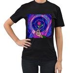 Enchanted Rose Stained Glass Women s T-Shirt (Black) (Two Sided)