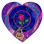 Enchanted Rose Stained Glass Jigsaw Puzzle (Heart)