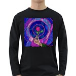 Enchanted Rose Stained Glass Long Sleeve Dark T-Shirts