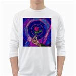 Enchanted Rose Stained Glass White Long Sleeve T-Shirts