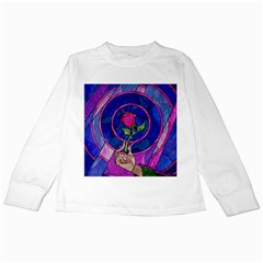 Enchanted Rose Stained Glass Kids Long Sleeve T Shirts by Onesevenart