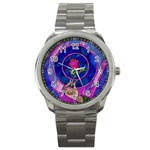 Enchanted Rose Stained Glass Sport Metal Watch
