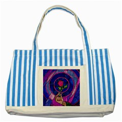 Enchanted Rose Stained Glass Striped Blue Tote Bag by Onesevenart