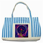 Enchanted Rose Stained Glass Striped Blue Tote Bag