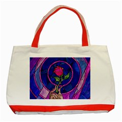 Enchanted Rose Stained Glass Classic Tote Bag (red) by Onesevenart