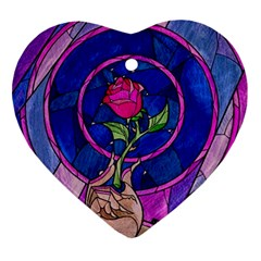 Enchanted Rose Stained Glass Heart Ornament (2 Sides) by Onesevenart
