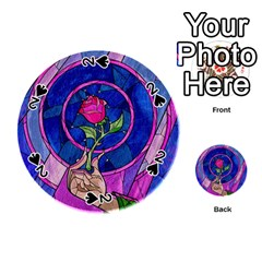 Enchanted Rose Stained Glass Playing Cards 54 (round)  by Onesevenart