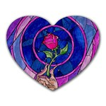 Enchanted Rose Stained Glass Heart Mousepads