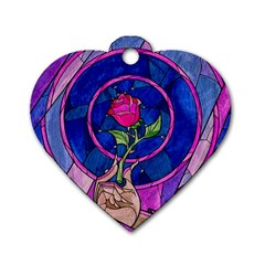 Enchanted Rose Stained Glass Dog Tag Heart (two Sides) by Onesevenart