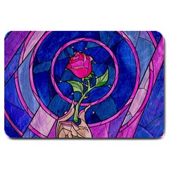 Enchanted Rose Stained Glass Large Doormat  by Onesevenart