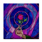 Enchanted Rose Stained Glass Face Towel