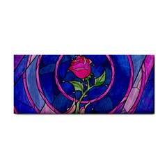 Enchanted Rose Stained Glass Hand Towel by Onesevenart