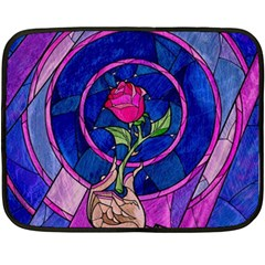 Enchanted Rose Stained Glass Double Sided Fleece Blanket (mini)  by Onesevenart