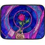 Enchanted Rose Stained Glass Double Sided Fleece Blanket (Mini)