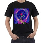 Enchanted Rose Stained Glass Men s T-Shirt (Black)