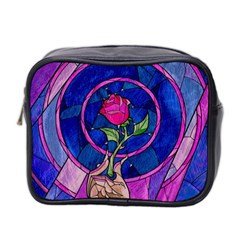 Enchanted Rose Stained Glass Mini Toiletries Bag 2 Side by Onesevenart