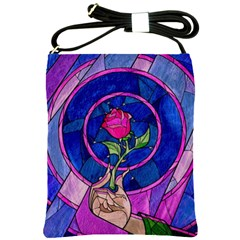 Enchanted Rose Stained Glass Shoulder Sling Bags by Onesevenart
