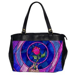 Enchanted Rose Stained Glass Office Handbags (2 Sides)  by Onesevenart