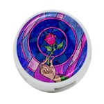 Enchanted Rose Stained Glass 4-Port USB Hub (One Side)