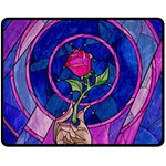 Enchanted Rose Stained Glass Fleece Blanket (Medium)