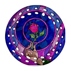 Enchanted Rose Stained Glass Ornament (round Filigree)  by Onesevenart