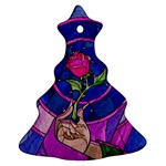 Enchanted Rose Stained Glass Christmas Tree Ornament (2 Sides)