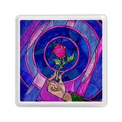 Enchanted Rose Stained Glass Memory Card Reader (square)  by Onesevenart