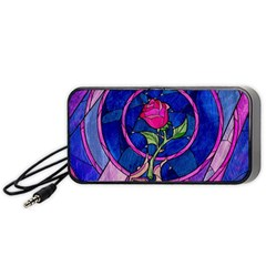 Enchanted Rose Stained Glass Portable Speaker (black)  by Onesevenart