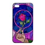 Enchanted Rose Stained Glass Apple iPhone 4/4s Seamless Case (Black)