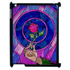 Enchanted Rose Stained Glass Apple Ipad 2 Case (black) by Onesevenart