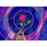 Enchanted Rose Stained Glass Birthday Cake 3D Greeting Card (7x5)