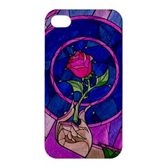 Enchanted Rose Stained Glass Apple Iphone 4/4s Premium Hardshell Case by Onesevenart