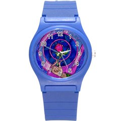Enchanted Rose Stained Glass Round Plastic Sport Watch (s) by Onesevenart