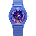 Enchanted Rose Stained Glass Round Plastic Sport Watch (S)