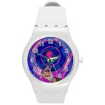 Enchanted Rose Stained Glass Round Plastic Sport Watch (M)
