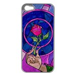 Enchanted Rose Stained Glass Apple iPhone 5 Case (Silver)