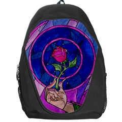 Enchanted Rose Stained Glass Backpack Bag by Onesevenart