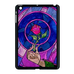 Enchanted Rose Stained Glass Apple Ipad Mini Case (black) by Onesevenart