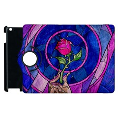 Enchanted Rose Stained Glass Apple Ipad 3/4 Flip 360 Case by Onesevenart
