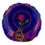 Enchanted Rose Stained Glass Large 18  Premium Round Cushions