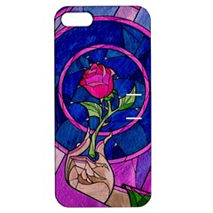 Enchanted Rose Stained Glass Apple Iphone 5 Hardshell Case With Stand by Onesevenart