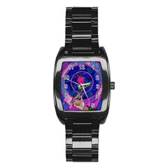 Enchanted Rose Stained Glass Stainless Steel Barrel Watch by Onesevenart