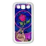 Enchanted Rose Stained Glass Samsung Galaxy S3 Back Case (White)