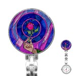 Enchanted Rose Stained Glass Stainless Steel Nurses Watch