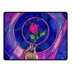 Enchanted Rose Stained Glass Double Sided Fleece Blanket (small)  by Onesevenart